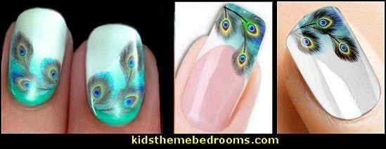 peacock nail water decals-nail art design  Water Transfer Watermark Pretty Designs Art Decal Sticker Stamping Beauty Manicure Nail Decoration Colors Colorful Peacock FEATHERS