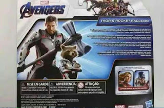 Avengers 4 toy set showing Thor and Rocket in their new suits