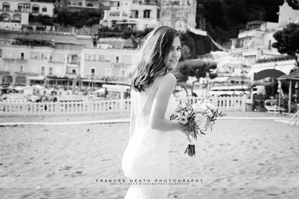 Bride on Positano beach