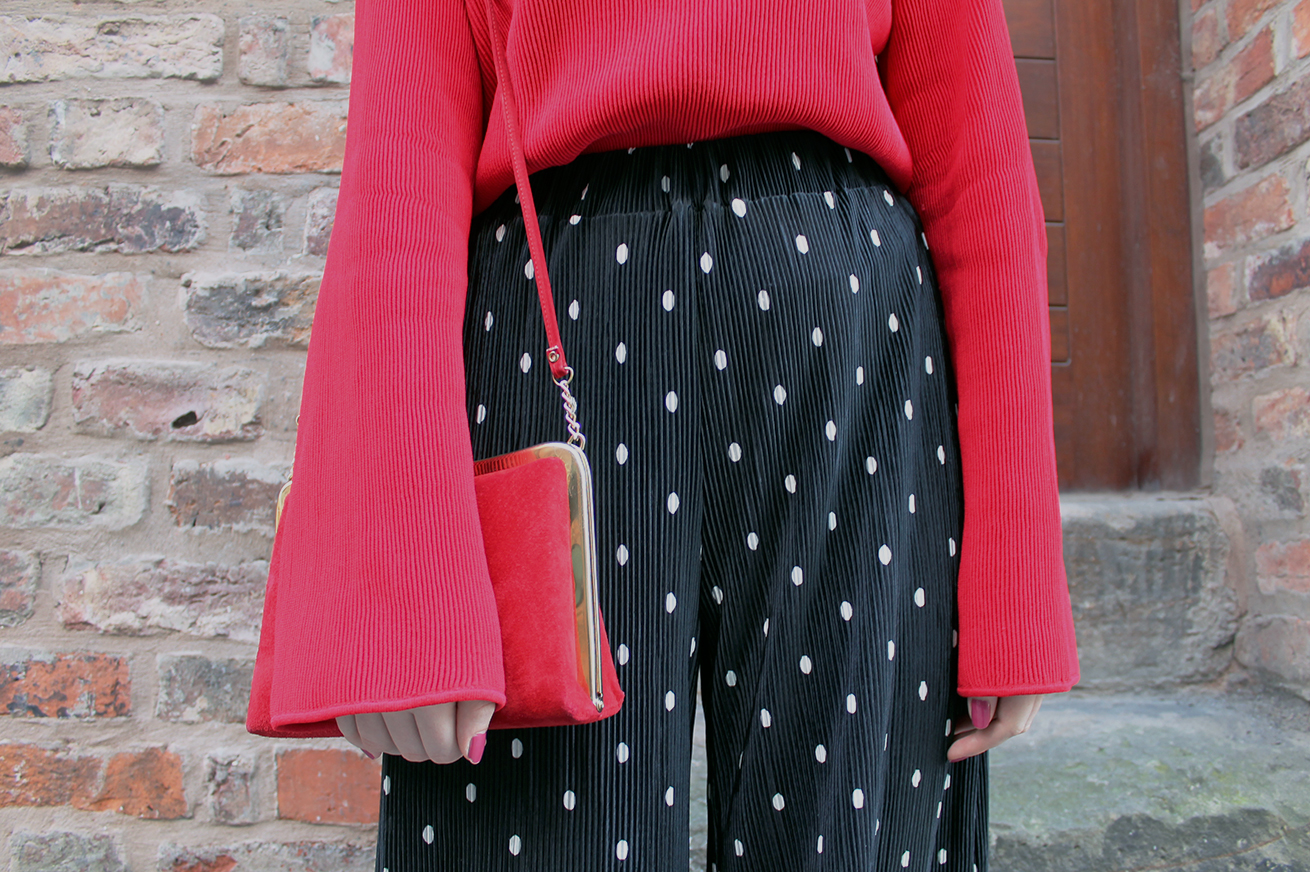 red oversized extra long sleeve top, red vintage suede bag