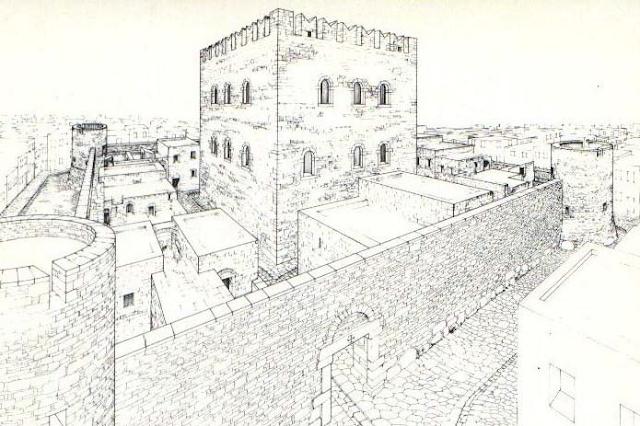 rycina obrazująca fortyfikacyjne zabudowanie, wieża