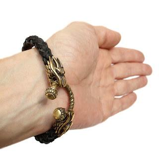 Купить мужской браслет из кожи с головами дракона в симферополе подарок парню мужу