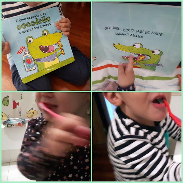 niños lavandose los dientes despues de leer el cuento
