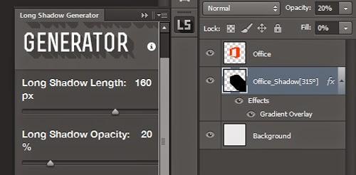 Desain bayangan panjang masih terkenal di kalangan desainer Membuat Bayangan Di Photoshop Dengan Plugin