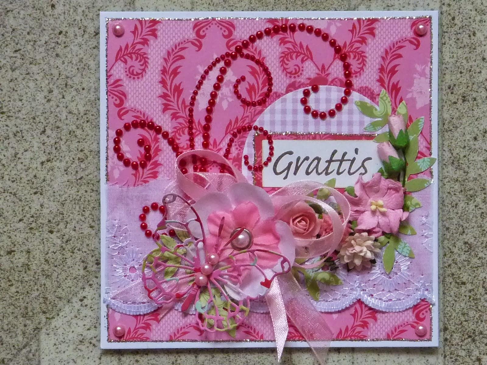 vackra födelsedagskort Pappersgalen   Papercrazy: Pink Birthday Card   Ett rosa  vackra födelsedagskort