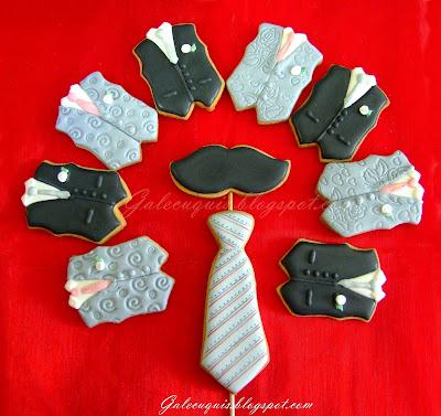 galletas chaleco de novio, corbata y bigote
