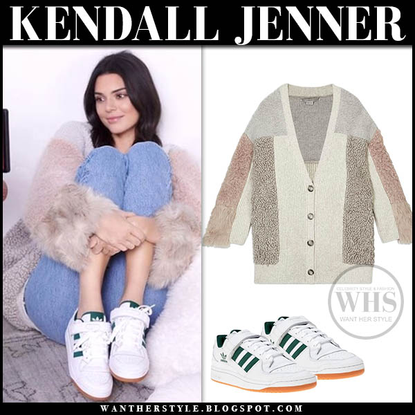 Kendall Jenner in beige fur mix cardigan stella mccartney model casual style january 31