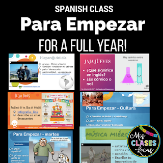 1 year of Spanish Para Empezar Bell ringers or brain breaks