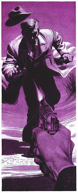 A large James R. Bingham illustration in purple