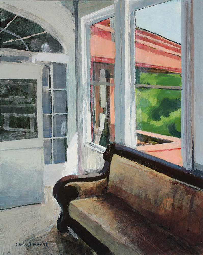 Acrylic painting of an interior room at Sonnenberg mansion.