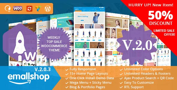 Free download EmallShop – Responsive Multipurpose WooCommerce Theme v2.0.10