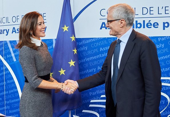 Crown Princess Mary wore Prada collar dress at dinner, and a new Britt Sisseck blouse at Parliamentary Assembly of the Council of Europe meeting