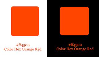 Color Hex Orange Red aplicado em fundo branco e preto