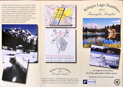 Brochure for Rifugio Lago Nambino.