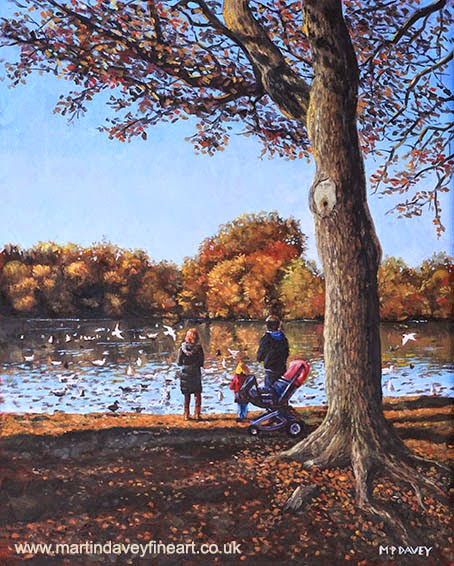 Feeding the Ducks at Southampton Common-oil painting m p davey