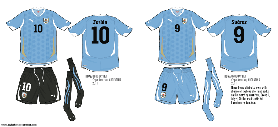 797040a0421 These template design were used by Uruguay in almost game at the World cup  2010 tournament and recently Copa America 2011. Below image show the v-neck  ...