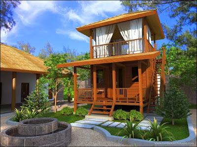 Desain Rumah Kayu 2 Lantai Minimalis