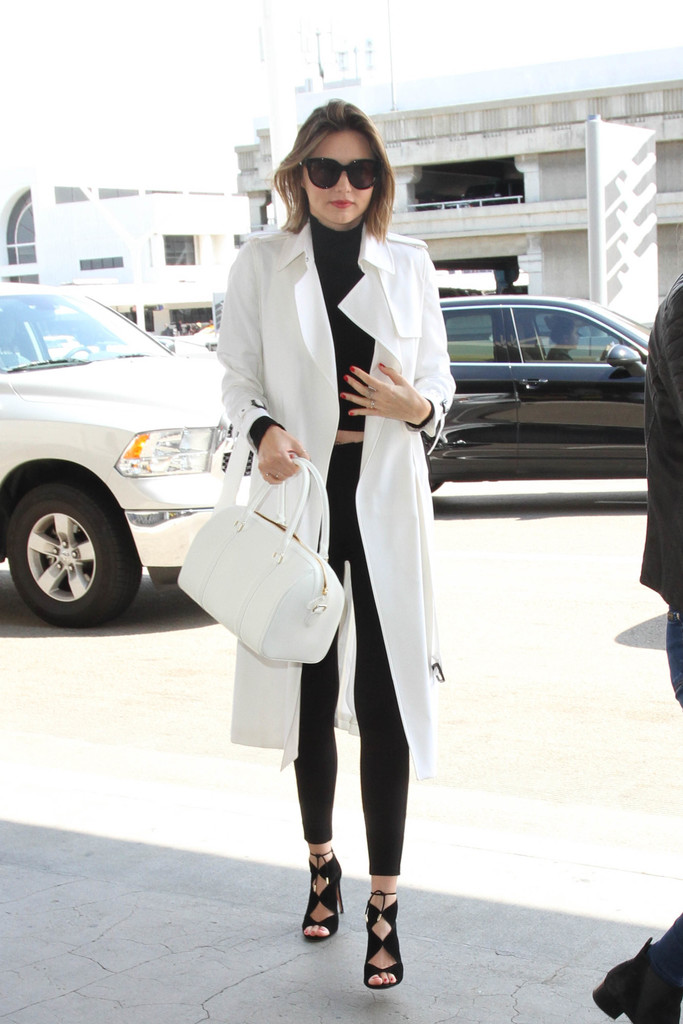 Miranda Kerr Wears Monochrome as She Arrives at LAX