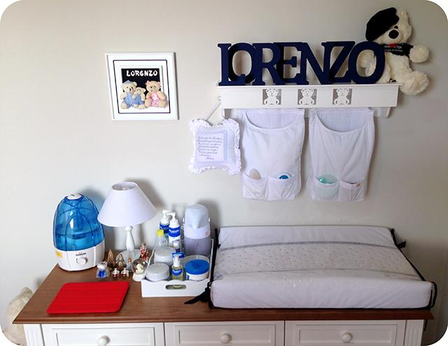 Trocador - Quarto de Bebê Azul e Branco com Ursinhos