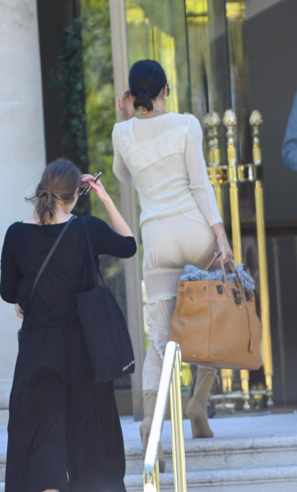 Wow! Braless Kendall Jenner flashes her bum in see-through tracksuit after arriving in France (4)
