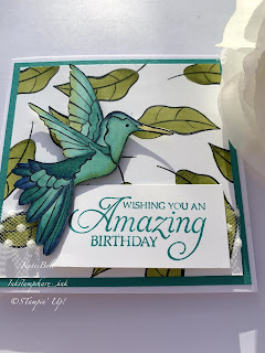 Humming Along Birthday Card. Hummingbird stamp,