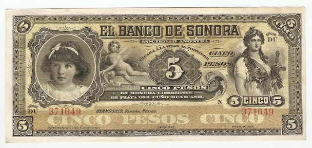 Mexico paper money bills Billete $5 pesos el Banco De Sonora