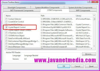 Cara Memunculkan Crystal Report Control Pada VB .NET
