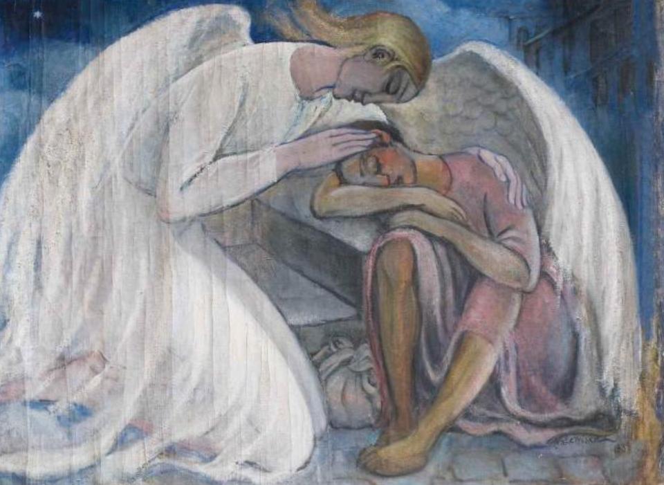 Αποτέλεσμα εικόνας για άγγελοι στη φυλακη παρηγορουν αγιο