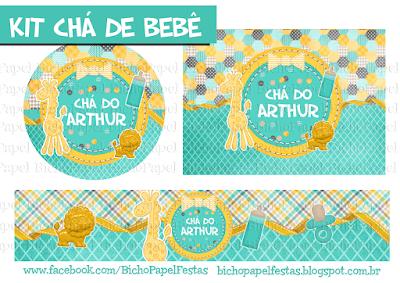 Kit Chá de Bebê Azul Tiffany e Amarelo