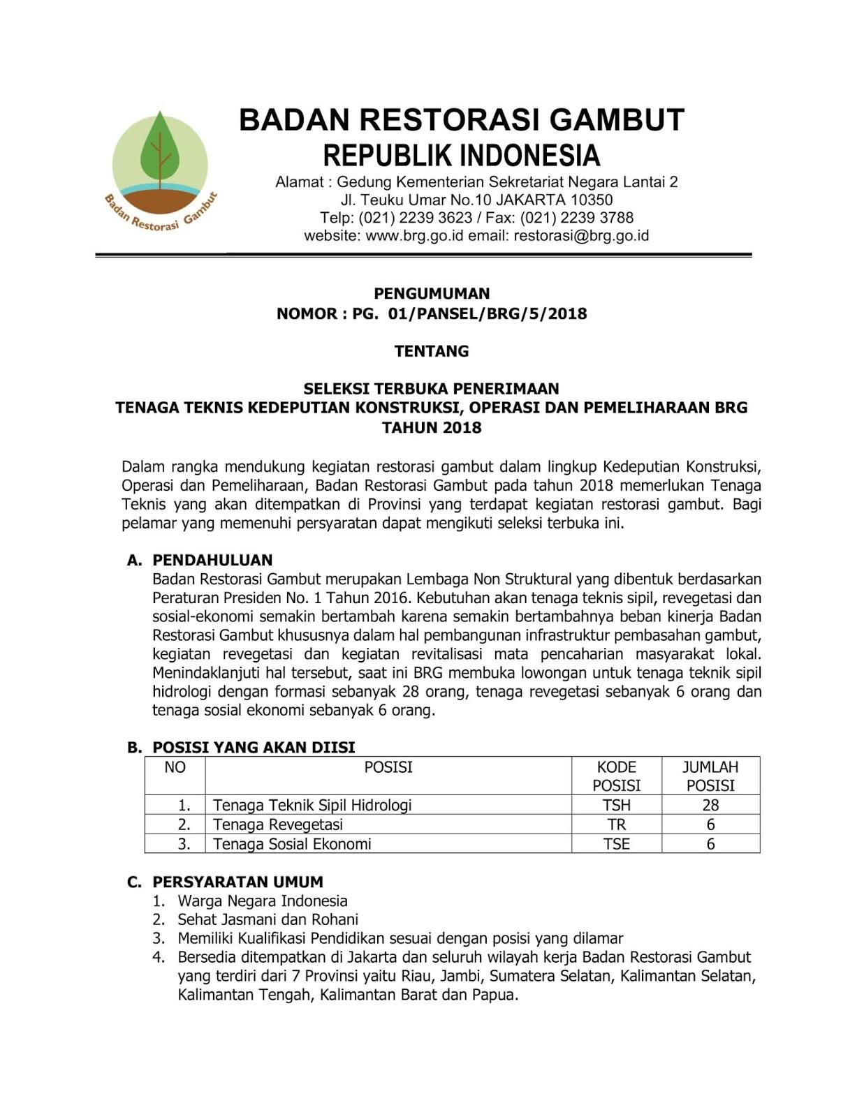 Lowongan Kerja Online Badan Restorasi Gambut Republik Indonesia