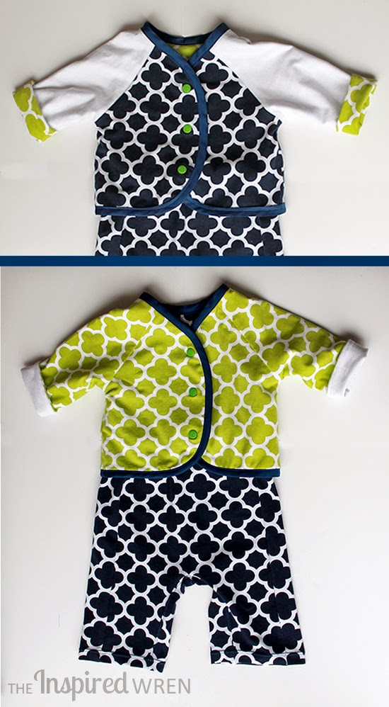 Fabulous reversible jacket -- love the navy & lime | Luallaby Layette from Oliver + S in Riley Blake Designs knit sewn by The Inspired Wren