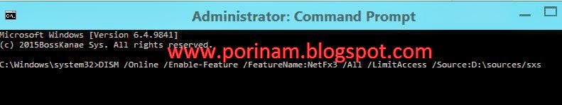 Enable Feature NetFx3 for win 8.1 by using Admin Command Prompt