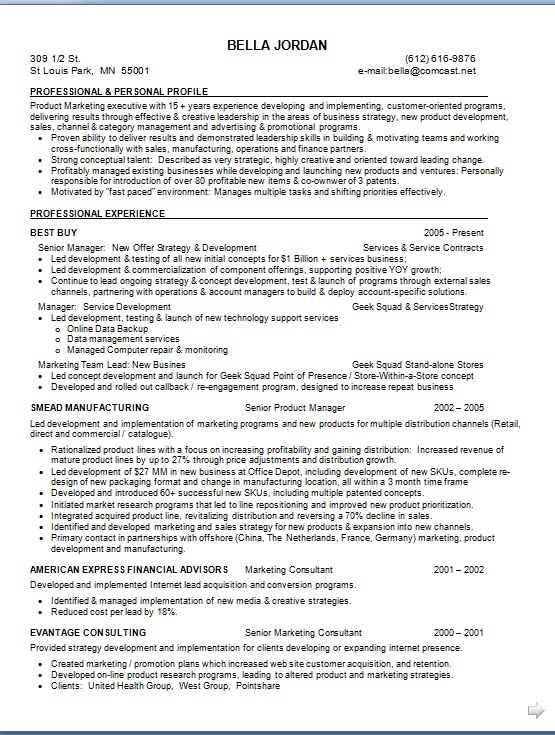 marketing manager resume latest template in word format