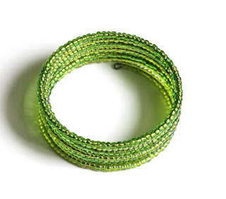 Lime Green Tiny Bead Cuff Bracelet