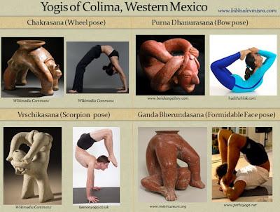 Ceramic figurines from Colima, Western Mexico, depict advanced yogic postures - Chakrasana, Purna Dhanurasana, Vrschikasana, Ganda Bherundasana