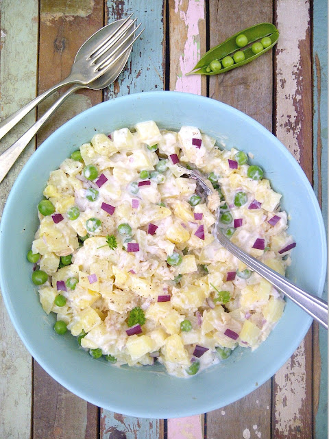 aardappelsalade erwtjes forel