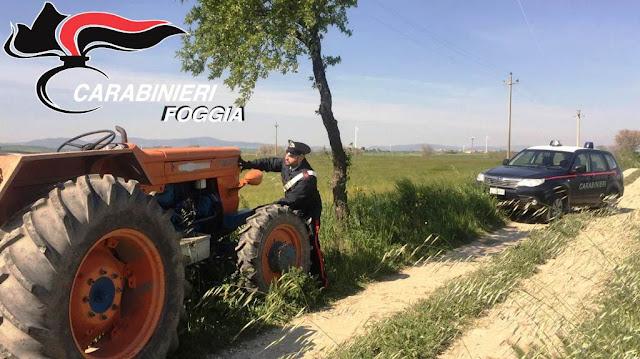 Ascoli Satriano, in Contrada Morellito i Carabinieri ritrovano trattore rubato