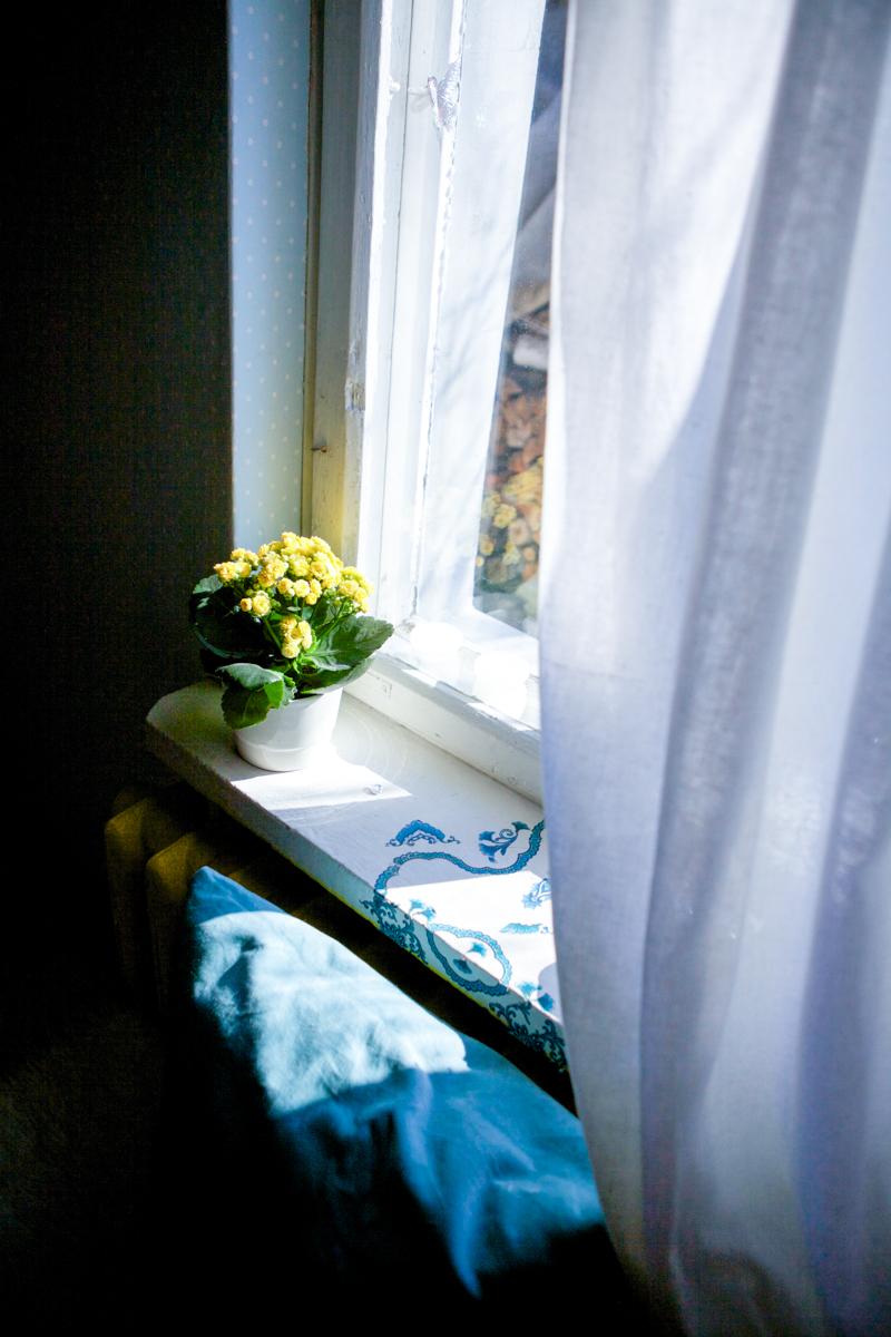 parapet w słońcu i żółte kwiaty, by RoomToLove