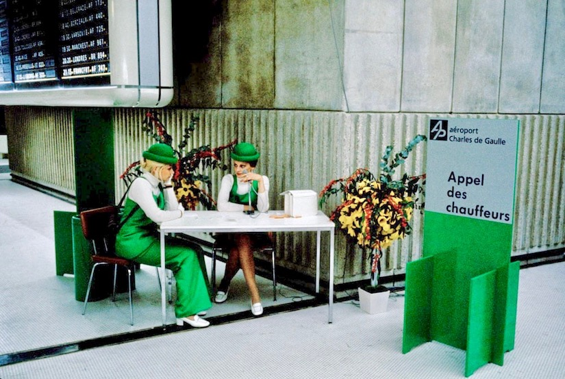 Paris' Charles de Gaulle Airport 1970s Stewardess in green uniforms