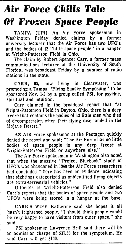 Air Force Chills Tale of Frozen Space People - The Orlando Sentinel 10-12-1974