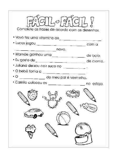 EXERCICIOS 1 ANO ENSINO FUNDAMENTAL PORTUGUES