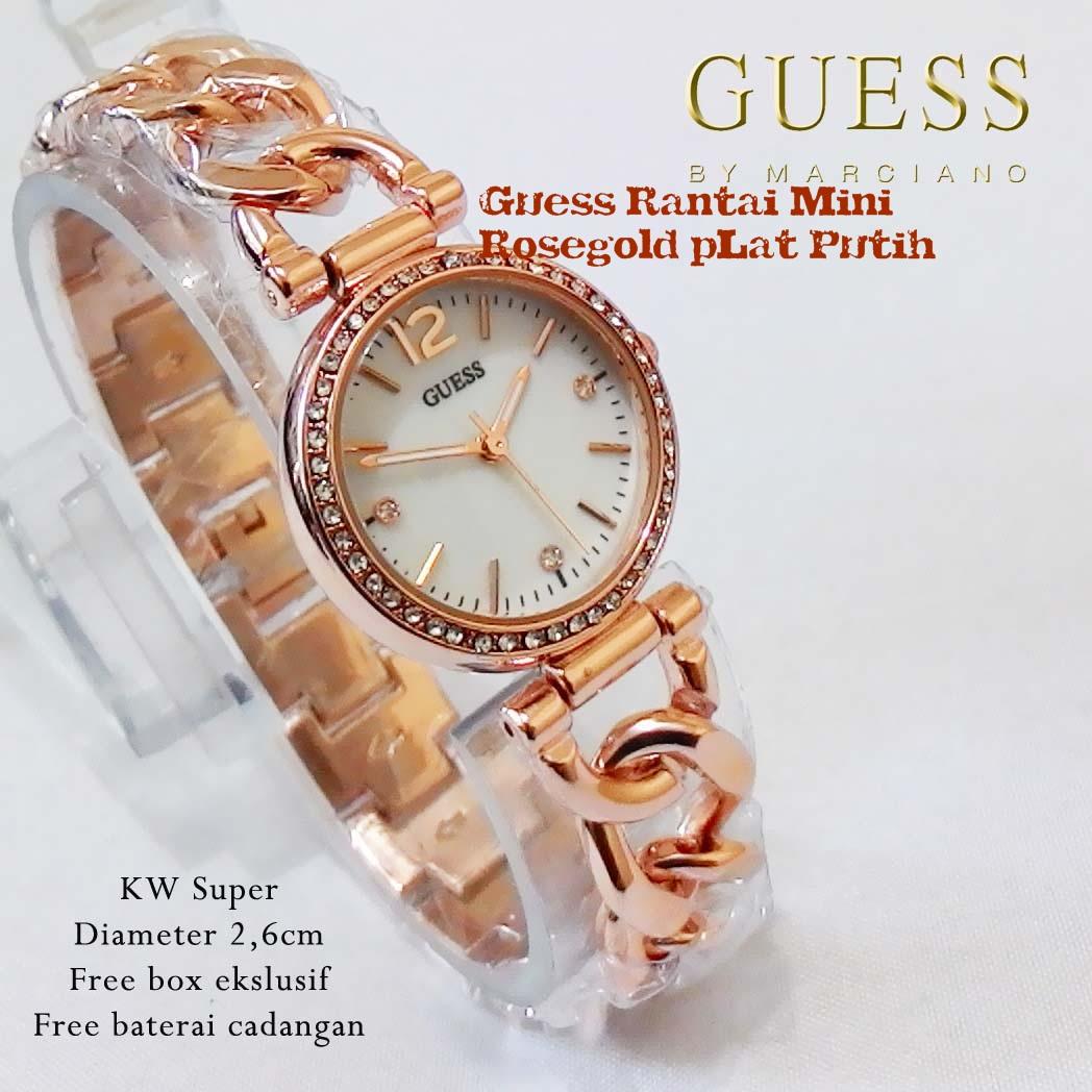 Jam Tangan Pria Wanita Rose Gold Plat Putih Daftar Harga Penjualan Christ Verra 71059g 15 Slv Rosegold Guess Rantai Mini