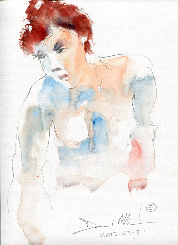 5 minute watercolour sketch. 20130521 by David Meldrum