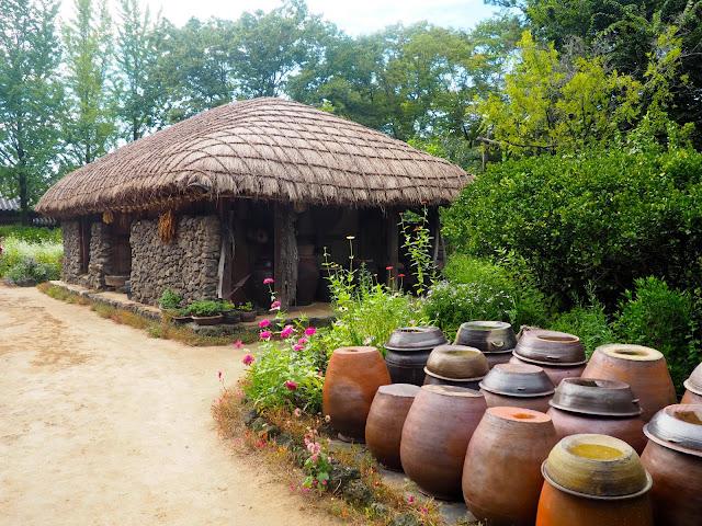 Replica of traditional house from Jeju island in the Korean Folk Village, Yongin, Gyeonggi-do, South Korea