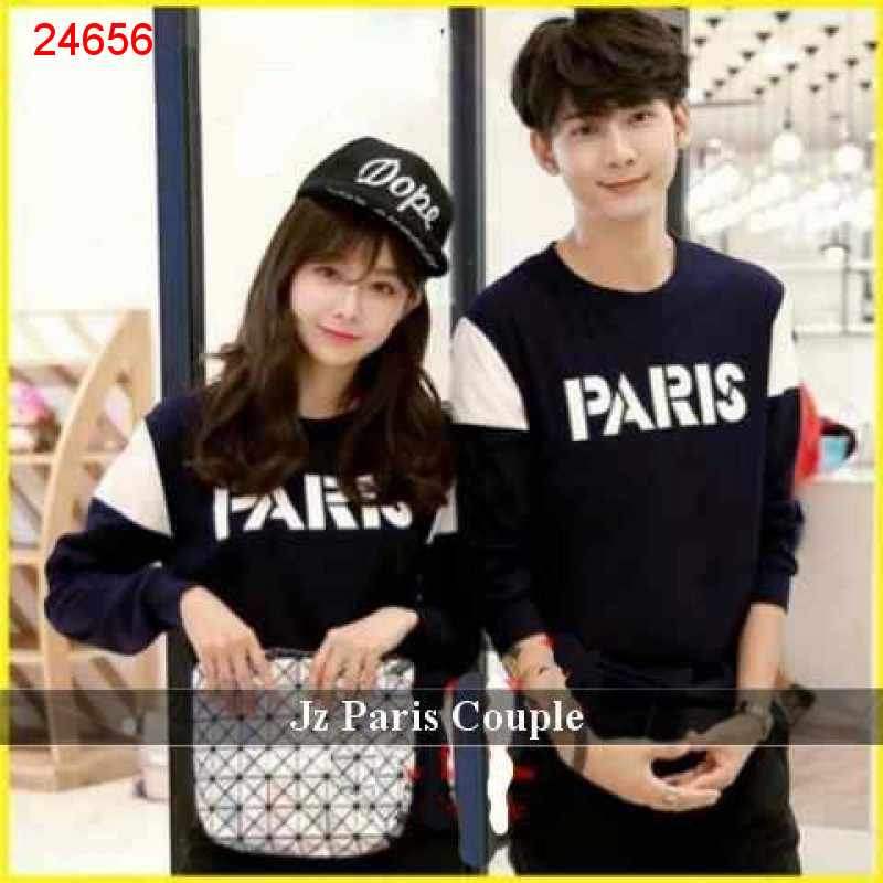 Jual Sweater Couple Sweater Font Paris - 24656
