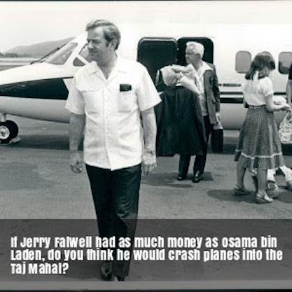 1 Jerry Falwell and his private plane. Stupidest internet question after 911. Should Falwell crash planes into the Taj Mahal. Best use of the Banjo-Ukulele