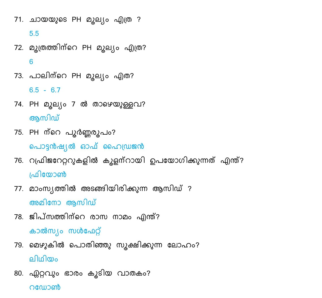 General Science Questions and Answers (Malayalam) - Set 4 ...