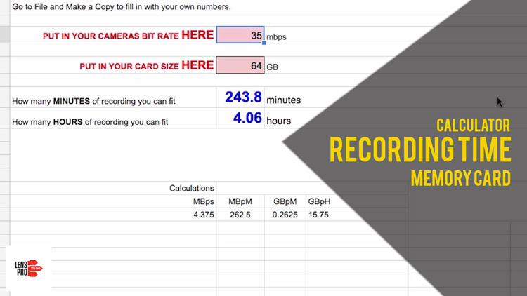 How much recording time you can get on a memory card.
