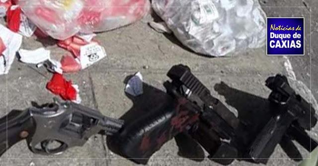 Três elementos são presos com armas e drogas em Duque de Caxias