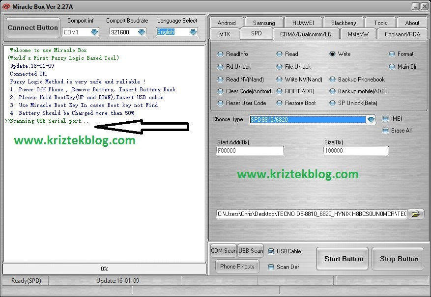 Flash bin files to spreadtrum devices miracle box scanning usb serial port